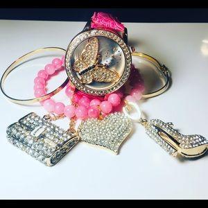 2 Stacked Beaded Bracelets 2 Gold Bangle & Watch